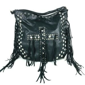 New Black Faux Leather Cross Fringe Studded Bag